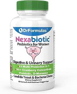 DrFormulas Probiotics for Women with Cranberry Pills, Fiber Prebiotic & D Mannose | Nexabiotic Vaginosis, Weight Loss & Urinary Health with L Reuteri, Lactobacillus Acidophilus for Yeast, 60 Capsules
