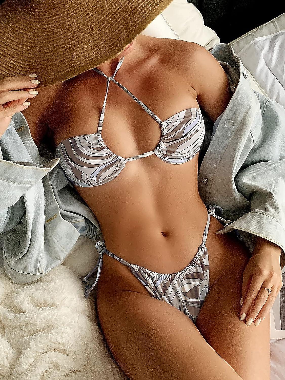 SOLY HUX Women's Printed Criss Cross Halter Bikini Bathing Suit 2 Piece Swimsuits Coffee Brown M