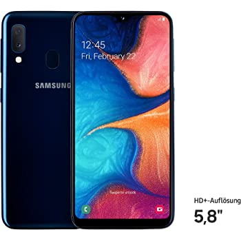 Samsung Galaxy A20e Smartphone (14.82cm (148.2 mm) 5.8 Zoll) 32GB interner Speicher, 3GB RAM, Dual SIM, Blau) - Deutsche Version