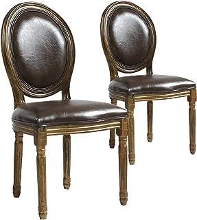 Menzzo Lot de 2 chaises de Style médaillon Louis XVI Simili (P.U) Marron Bois patiné Or, Polyuréthane, 46x49x96 cm