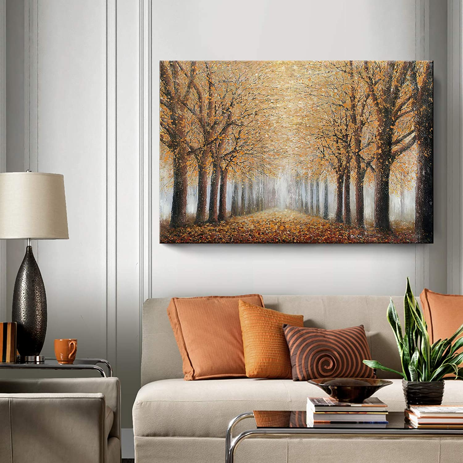 Amazon.com: Large Tree Wall Art for Living Room Hand-Painted Forest Oil Painting Framed Yellow Grove Artwork Autumn Landscape Canvas Print for Living Room Bedroom Home Decorations Wall Decor Large 48