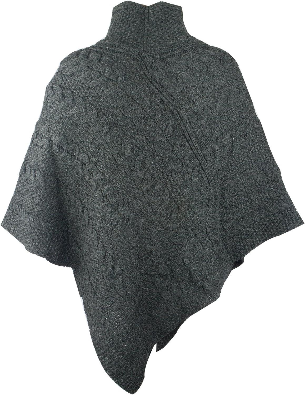 Irish Merino Ladies Aran Knit Poncho
