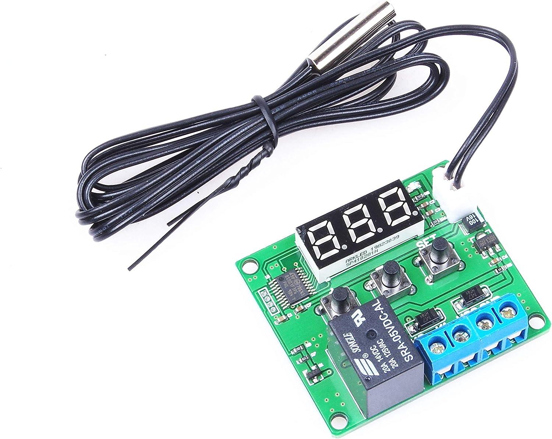 KNACRO DC 5V 12V 24V Blue Green RED Digital Display Temperature Control, Precision Temperature Controller, Temperature Control switches, Miniature Thermal Control Plate (DC 5V, Green)