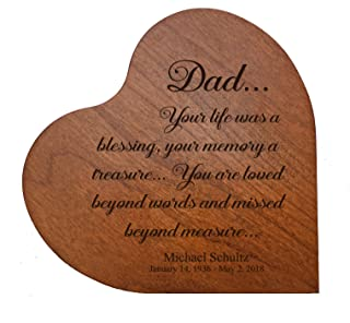 """Personalized Engraved Dad, Your Life was a Blessing MDF Cherry Family Memorial Heart Block Custom Sympathy Gift Ideas for mom, dad, Son, Daughter, Brother, Sister 5"""" x 5"""" (Dad Your Life)"""