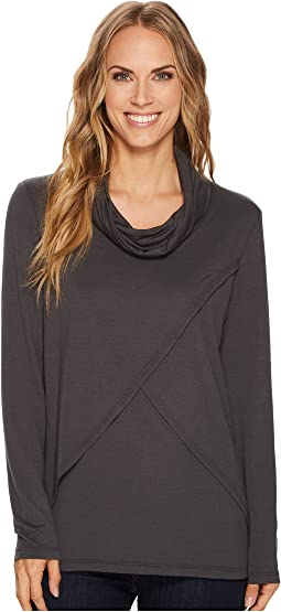 Tribal - Long Sleeve Cowl Neck Lightweight French Terry Top