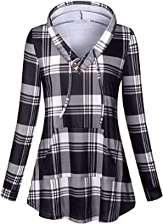 Tanst Sky Womens Long Sleeve Plaid Hoodie Sweatshirts Tunic with Pocket