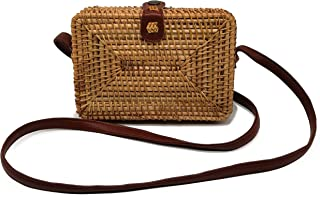 Women's Bali Rattan CrossbodyBags Handmade Straw Bags Bohemian Shoulder Bag