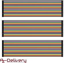 AZDelivery ⭐⭐⭐⭐⭐ Jumper Wire Cables de Puente 3 x 40 Piezas Pines Macho a Macho, Hembra a Hembra, Macho a Hembra para Arduino y Raspberry Pi Breadboard