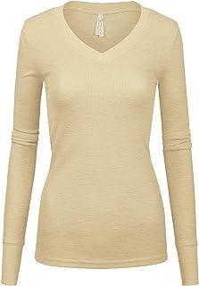 Women Junior Solid Multi Colors Slim Fit Long Sleeve Thermal Material V-Neck Top