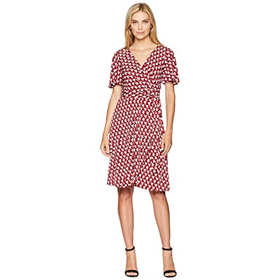 Donna Morgan Geo Jersey Wrap Dress with Flutter Sleeve (Cranberry/Bright Orange Multi) Women