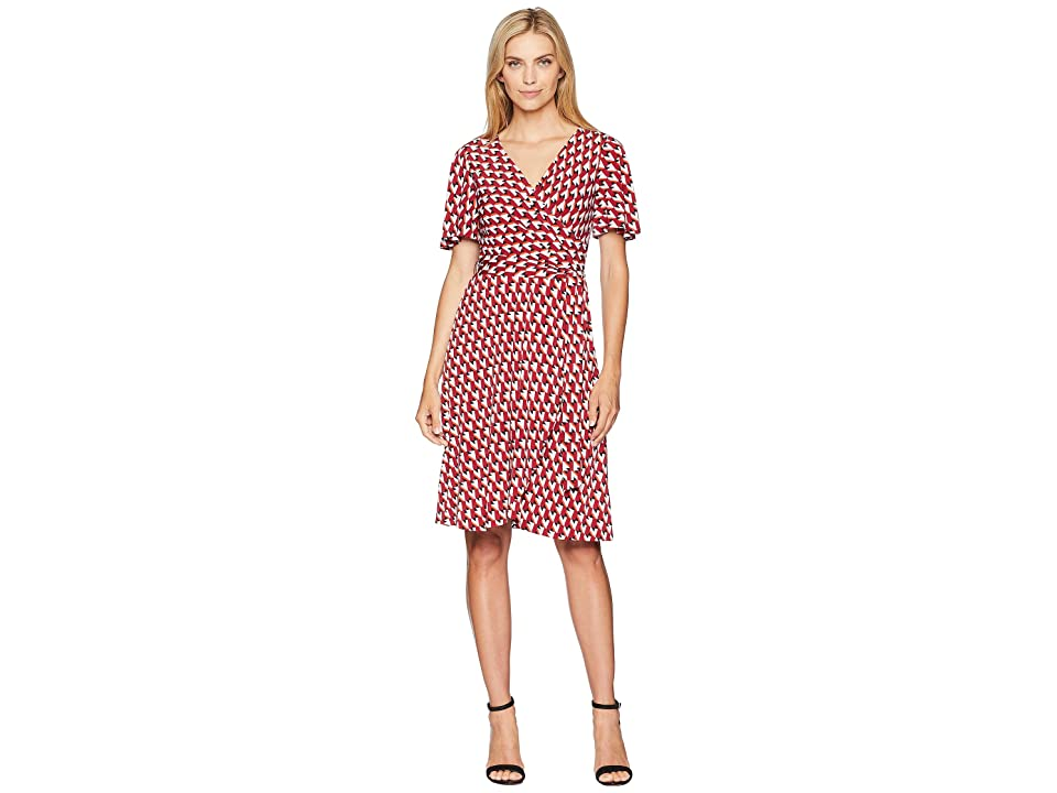 Donna Morgan Geo Jersey Wrap Dress with Flutter Sleeve (Cranberry/Bright Orange Multi) Women