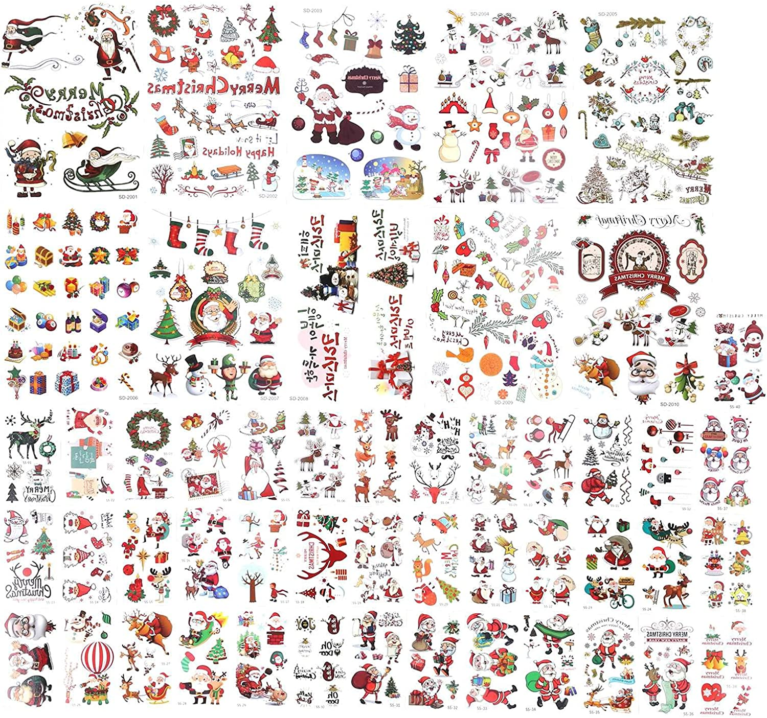 Deror Tattoo Stickers Don't miss the campaign Max 75% OFF 50pcs Santa Waterp Temporary Tattoos Claus