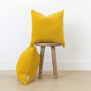 Woven Nook Decorative Velvet Throw Pillow Covers ONLY Set of 2 18x18'' and 22x22' 'for Couch, Sofa, or Bed Modern Quality Design Velvet (22'' x 22'', Mustard Yellow)