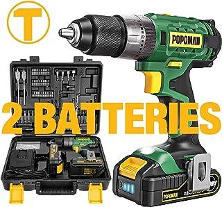 Perceuse Visseuse Sans Fil Avec 105Pcs Accessoires, 2 Batteries 2.0Ah, 45Nm Couple, 20 Foret pour Perçage, 13mm Mandrin Au...