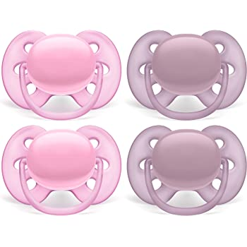 SCF214//41 4 Pack White//Pink 0-6 Months Philips AVENT Ultra Soft Pacifier Arctic White//Pink