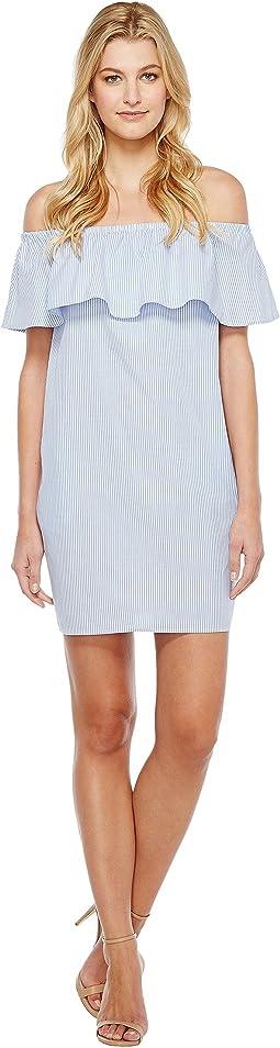 Ruffle Off Shoulder Yarn-Dye Stripe Dress