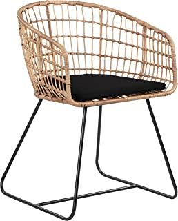 Finch Rattan Lounge Dining Chair, Black