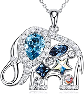 EleShow Animal Necklace Ocean Blue Pendant Jewelry for Women Crystals from Swarovski (A_Elephant)