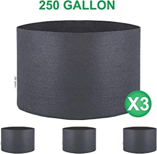 TopoGrow 250 Gallon 3-Pack Round Fabric Fabric Aeration Pots Container for Nursery Garden and Planting Grow (Black) W/no Handles (250 Gallon)