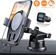 VANMASS 15W Wireless Car Charger Mount, Electric Automatic Clamping Dashboard Air Vent Windshield Phone Holder,Qi Fast Charging Compatible with iPhone 11 Pro Max Xs X 8,Samsung S10 S9 Note10, LG V30+