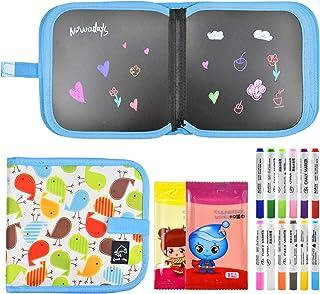 Pinsheng Livre de dessin effaçable, 21,8 x 21,8 cm, double face, planche à dessin portable pour enfants, avec 12 stylos ef...