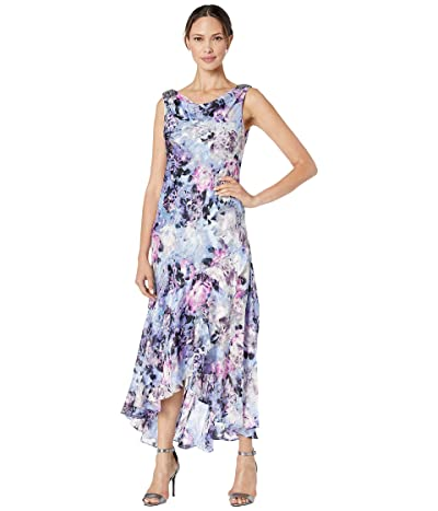 Alex Evenings Tea Length Printed Dress with Embellished Cowl Neckline (Multi) Women