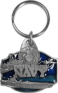 Siskiyou Automotive KR7E Metal Key Chain U. S. Navy Military Enameled Details