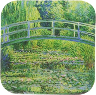 3dRose cst_46577_1 Famous Monets Water Lillies with Lavender Frame Soft Coasters, Set of 4