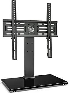 FITUEYES Height Adjustable TV Stand with Anti-Tip Strap for 26-55 inch LCD LED Plasma Flat Screen tv Glass Base with Wire ...