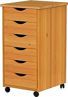 ADEPTUS C0008 6 Drawer Roll Cart, Medium Pine