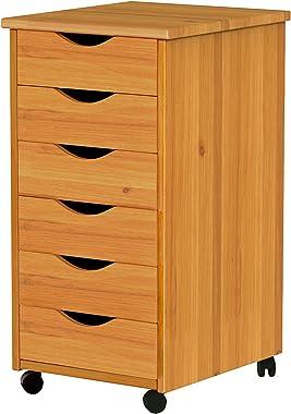 ADEPTUS 6 Drawer Roll Cart Solid Wood, Pine