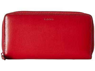 Lodis Accessories Audrey Under Lock Key RFID Perla Zip Wallet (Red) Wallet Handbags