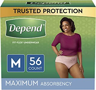 Depend FIT-Flex Incontinence Underwear for Women, Maximum Absorbency, M, Tan, 56 Count