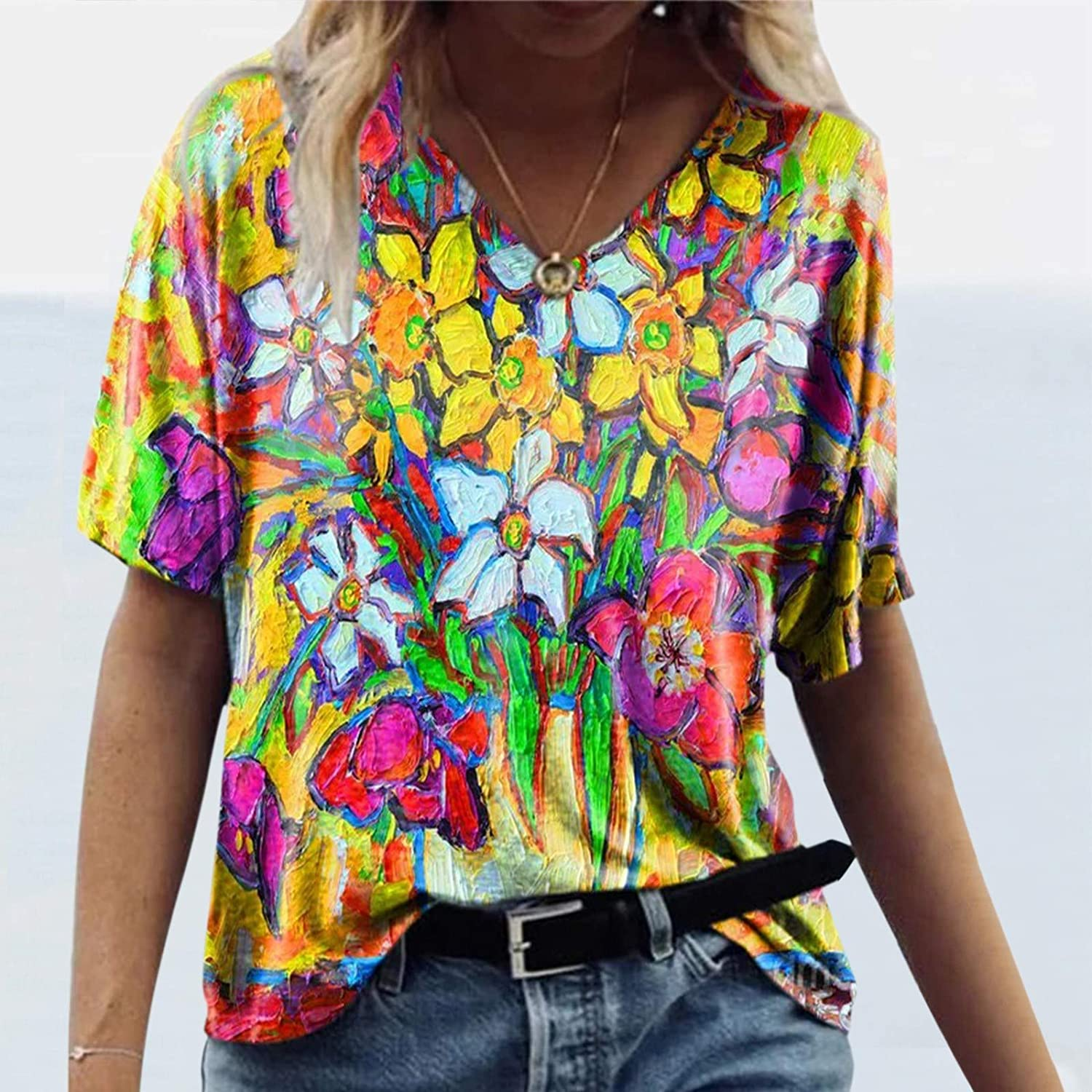 FABIURT Tops for Women Summer Short Sleeve Tunic Tops V Neck Colorful Floral Printed Tees Shirt Casual Comfy Blouse Tops