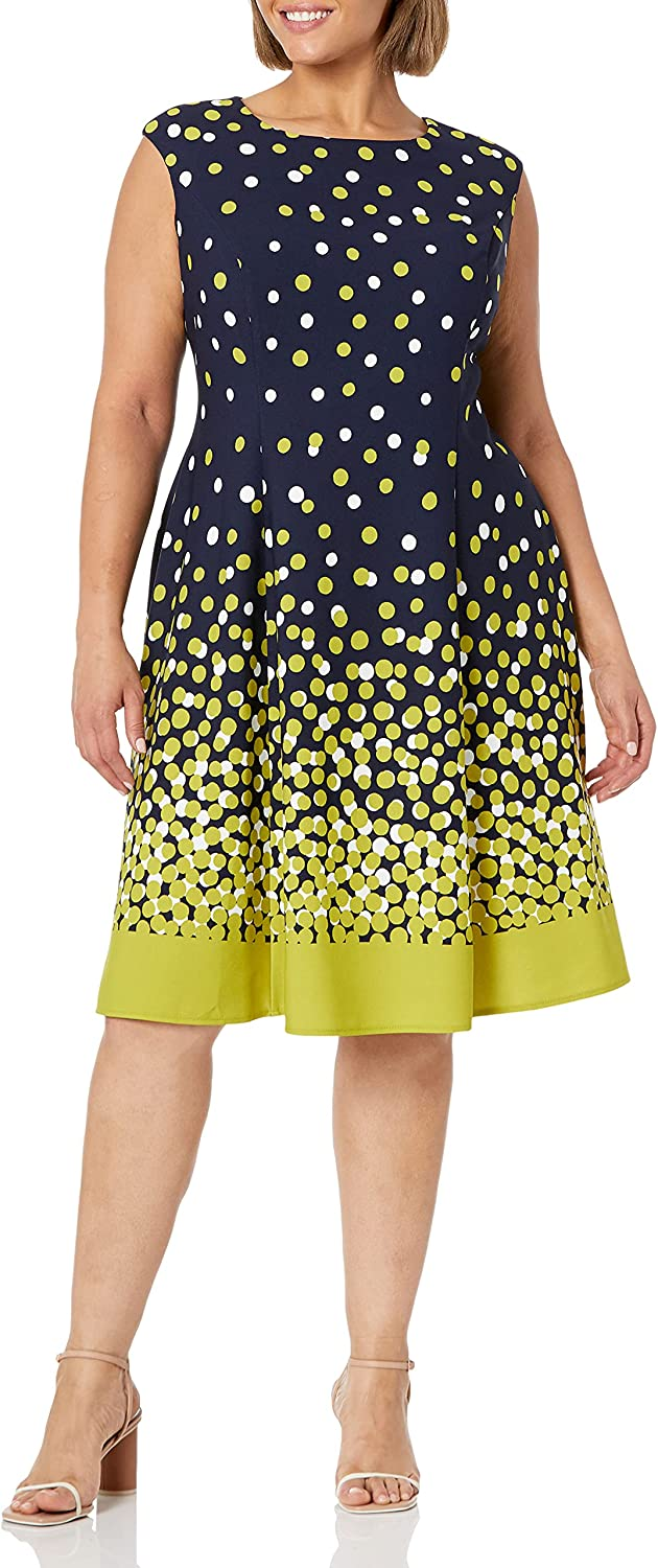 London Times Women's Ombre Dot Print Sleeveless Fit and Flare