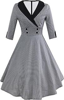 3fe563af9c7 HUINI Robe Pied-de-Poule Style Rétro Robe Manches 3 4 Femme Robe