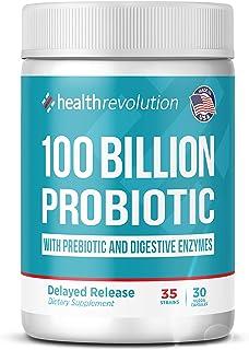 Health Revolution Probiotics 100 Billion for Women and Men - Organic Shelf Stable Probiotic for Digestive Health, Vegan - ...