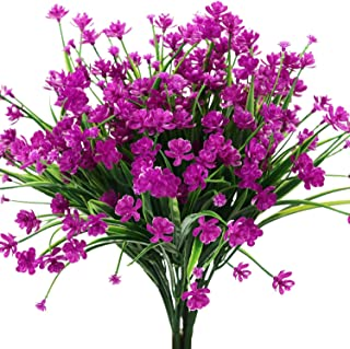 Woooow 6 Pack Artificial Fake Flowers Fake Outdoor UV Resistant Plants Faux Plastic Greenery Shrubs Indoor Outside Hanging Planter Home Kitchen Office Wedding Decor