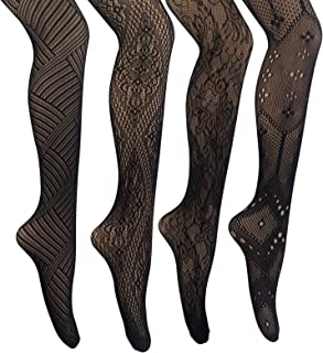 MANZI 4 Pairs Black Patterned Goth Fishnet Tights Mesh Stockings Sexy Cross Pantyhose for Women
