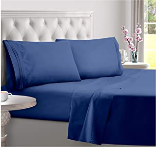 DreamCare Deep Pocket Sheets Microfiber Sheets Bed Sheets Set 4 Piece Bedding Sets Full Size, Navy Blue