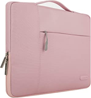MOSISO Polyester Briefcase Handbag Only for MacBook 12-Inch with Retina Display 2017/2016/2015 Release Fabric Multifunctional Laptop Sleeve Case Cover, Pink