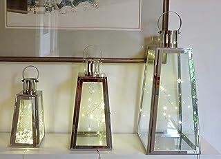 Conjunto de 3faroles de metal y cristal con luces LED (Triangular) chapado en plata con 20luces LED en cada uno