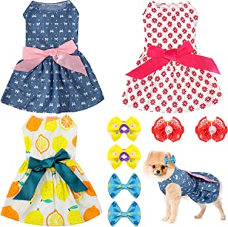 3 Pieces Dog Dress Cute Pet Clothing and 6 Pieces Dog Hair Bow with Elegant Ribbon Pet Apparel...