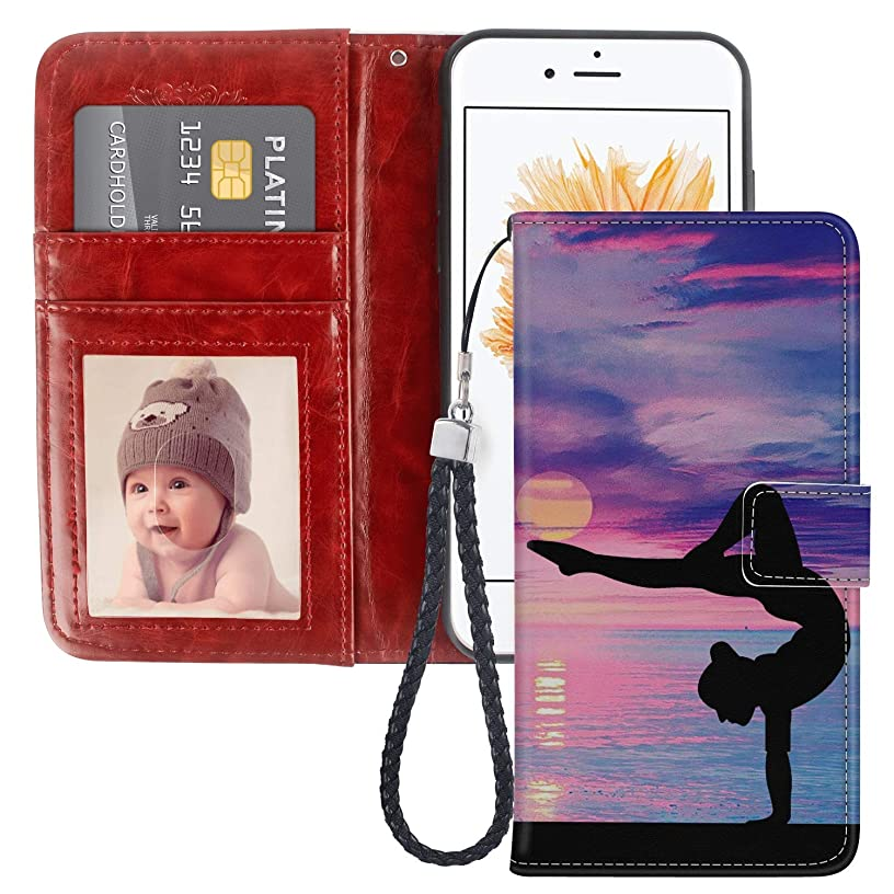 Yoga Pose iPhone 5 5S SE Wallet Case JQLOVE PU Leather Flip Magnetic Clasp Multi-Card Slot Wristlet Phone Case for iPhone 5 5S SE Yoga Pose