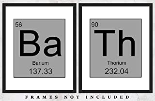 BaTh Periodic Table Elements Wall Art Prints: Funny Set of Two (8x10) Unframed Poster Prints - Great Gift Idea Under $15 For Bathroom Décor