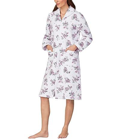 Eileen West Diamond Quilt Long Zip Robe (Multi Floral) Women