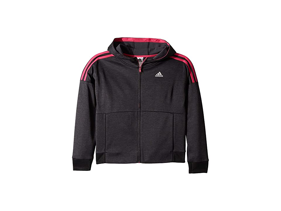 adidas Kids Poly Fleece Jacket (Big Kids) (Black/Bright Pink) Girl