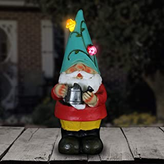 Exhart Solar Gnome Garden Statue w/Watering Can - Teal Hat Gnome Resin Statue Holding a Watering Can - Solar Decor Lights ...