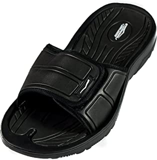 Mens Adjustable Sandals - Shower Flip Flops for Men | Nonslip Men's Slide On Sandals for Shower, Beach, Pool, Summer, Gym Slides | Arch Support for Athletes | Multiple Sizes and Colors