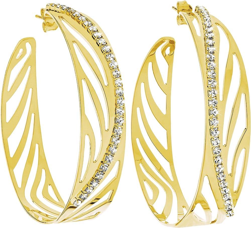 Stroili orecchini per donna cerchio in metallo dorato lucido e cristalli  - kalahari 1607312